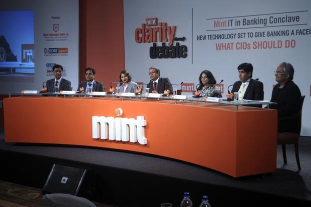 (L to R) IDBI Intech's Sanjay Sharma, Citibank's Sridhar Iyer, ICICI Bank's Abonty Banerjee, Mint's Tamal Bandyopadhyay, Kotak Mahindra's Aruna Rao, Yes Bank's Amit Sethi, and Pinstorm's Mahesh Murthy at Mint's conclave in Mumbai on Wednesday. Photo: Abhijit Bhatlekar/Mint  (Abhijit Bhatlekar/Mint )