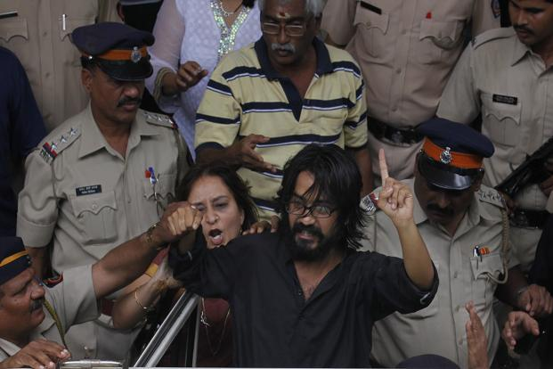 Cartoonist Aseem Trivedi was targeted for a cartoon depicting four wolves in place of the lions on the national emblem, the Ashoka pillar. Photo: Hindustan Times (Hindustan Times)
