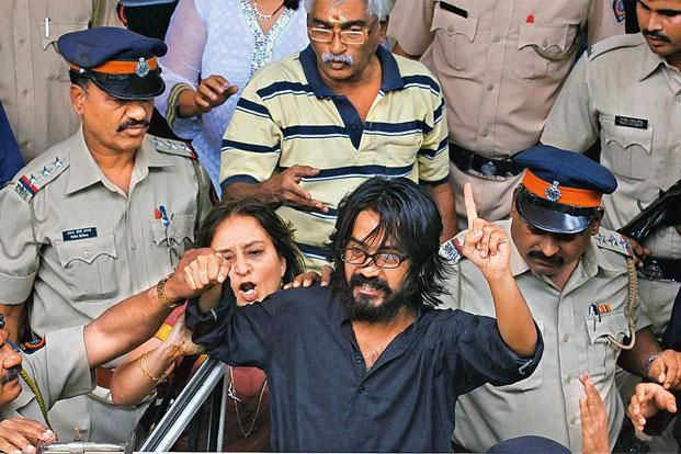Cartoonist Aseem Trivedi was arrested for a cartoon depicting four wolves in place of the lions on the national emblem, the Ashoka pillar. Photo: Hindustan Times (Hindustan Times)