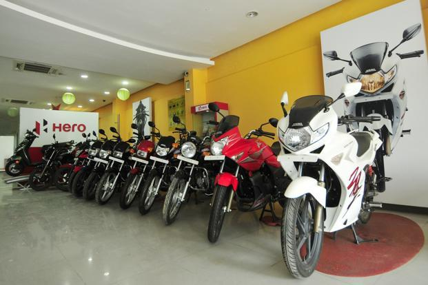 A Hero motor corp showroom at Adhchini. Photo: Ramesh Pathania