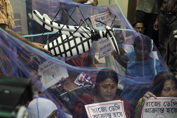 Kolkata Municipal Corporation lawmakers sit inside a mosquito      net in front of the Mayor's office in protest against inadequate measures to prevent the spread of dengue and malaria in Kolkata. AP