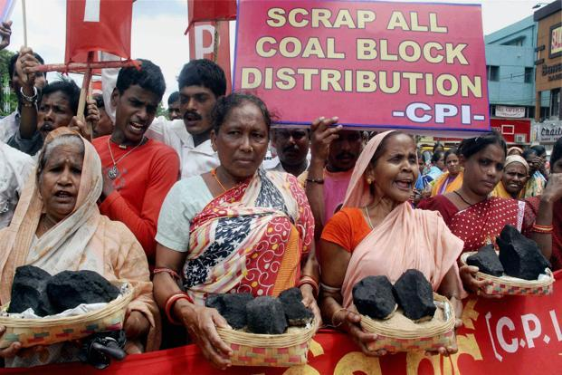 In Bhubaneswar, women activists of the Communist Party of India take out a protest rally against the Coal scam. PTI