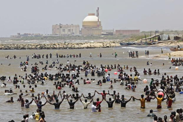 Anti-nuclear power activists hold a protest against the nuclear power project in Kudankulam, Tamil Nadu. Nearly 4,000 people camped on the beach near the power station to protest the threat of radiation. Reuters
