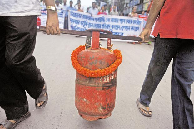 A protest against the price hike in fuel in Siliguri on Friday. Photo: Diptendu Dutta/AFP