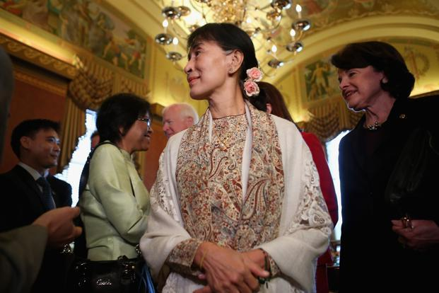 Aung San Suu Kyi meets members of the US senate leadership at the US Capitol on Wednesday. Photo: Chip Somodevilla/Getty Images/AFP