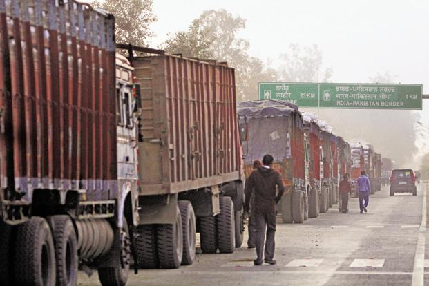 Trucks at the Wagah border. Photo: Mint
