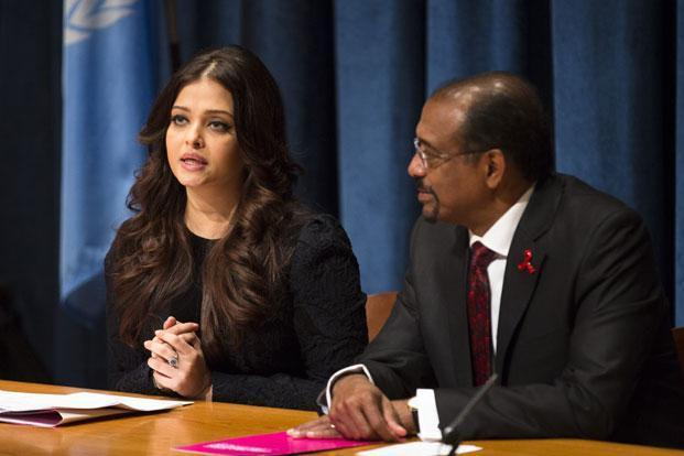Actress Aishwarya Rai Bachchan (left) sits beside UNAIDS executive director Michel Sidibé as she speaks to the media after being named a goodwill ambassador at UN headquarters on Monday. Photo: John Minchillo/AP
