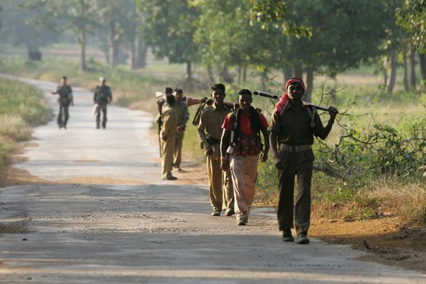 District police officers patrol naxal-controlled areas in Bijapur near Dantewada, Chhattisgarh. Photo: Sattish Bate/HT