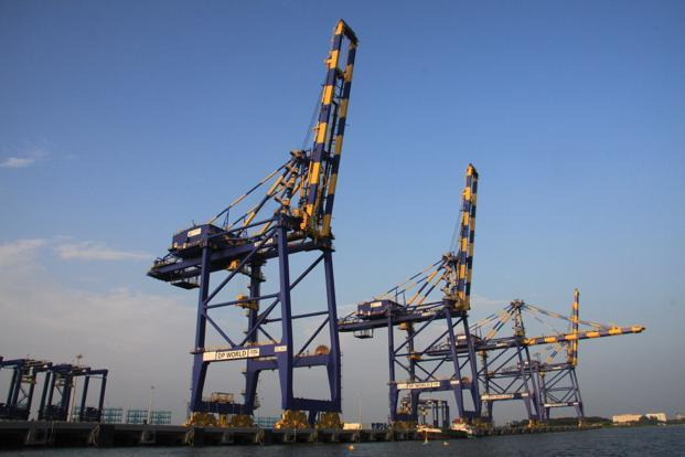 The Vallarpadam Container Terminal at Cochin Port. The port is expected to complete dredging in next two months and that will give a channel depth of 14.5 metres to handle bigger vessels. Photo: Bharat S. Raj/Wikimedia Commons