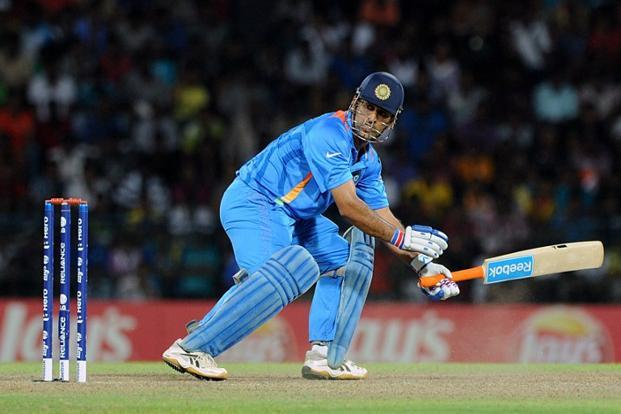 Mahendra Singh Dhoni plays a shot during the T20 Cricket World Cup match between India and South Africa in Colombo on Tuesday. Signs of Dhoni's fall from grace have been there for the past year, ever since the team won the World Cup. Photo: Ishara S. Kodikara/AFP