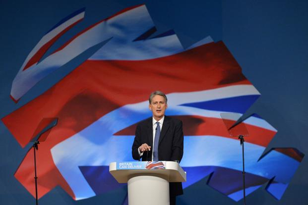 Britain's defence minister Philip Hammond delivers his keynote speech at the Conservative Party conference in Birmingham. Photo: Reuters (Reuters)