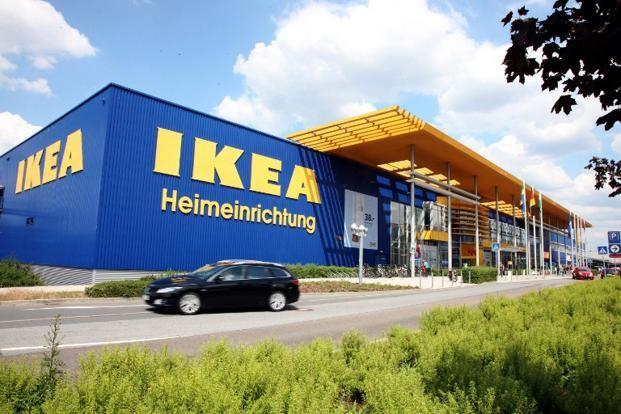 A car drives past an Ikea store in Dresden, eastern Germany. Marko Foerster/AFP