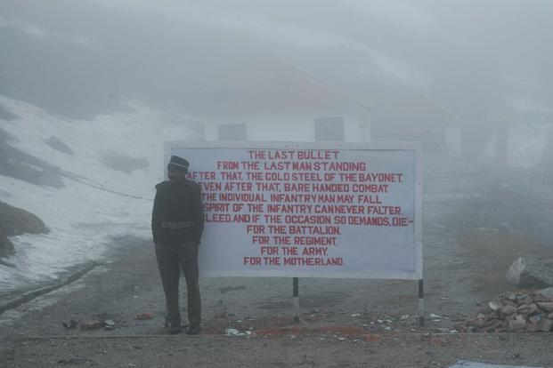 A file photo of an Indian soldier at Nathula pass, Sikkim. Present day disputes—South China Sea is good example—annexations and claims in the past, Aksai Chin in Jammu and Kashmir and Arunachal Pradesh, fit in a pattern that has deep historical roots. Photo: HT