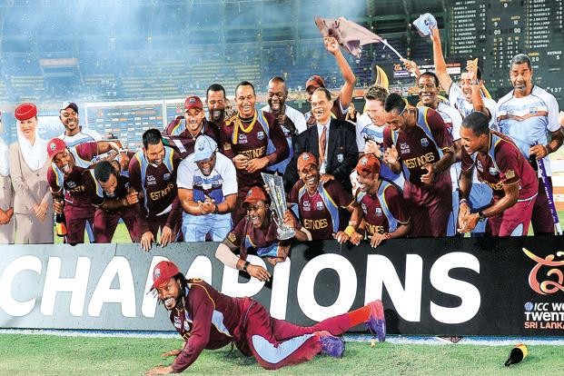 The winning team posing with the trophy on Sunday. Photo: Lakruwan Wanniarachchi/AFP