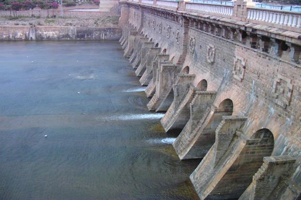The Krishna Raja Sagara dam on the Cauvery river   Photo  Wikimedia