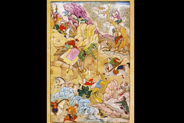 A painting representing Jahangir's lion hunt, circa 1615. Photo: Wikimedia Commons