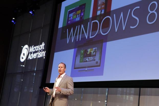 Keith Lorizio, vice-president of US sales and marketing for Microsoft Advertising, giving a presentation on Windows 8 in New York on 2 October. Photo: AP