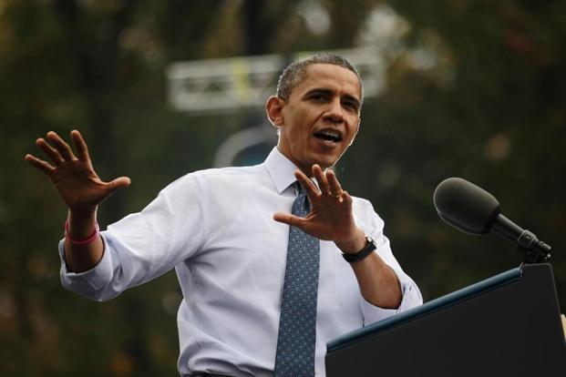 US President Barack Obama speaks during a campaign rally at George Mason University in Fairfax, Virginia, Photo: Reuters