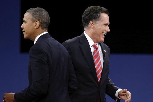 US President Barack Obama (left) and Republican candidate Mitt Romney at the third and final US presidential debate in Florida on Tuesday. Photo: AP