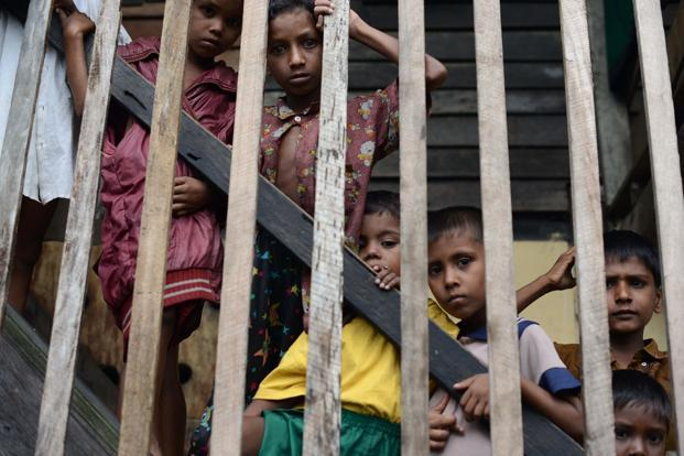 Muslim Rohingyas at a school sheltering internally displaced persons in the village of Theik Kayk Pyim, located on the outskirts of Sittwe, capital of Myanmar's western Rakhine state. Photo: Christophe Archambault/AFP