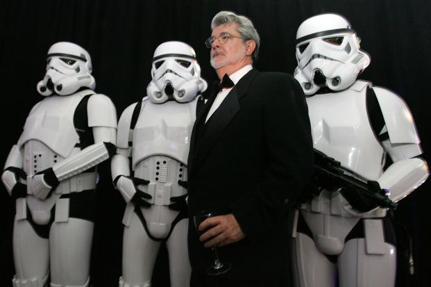 Lucas with stromtroopers  at a launch event on 6 October 2006 in Los Angeles. AFP