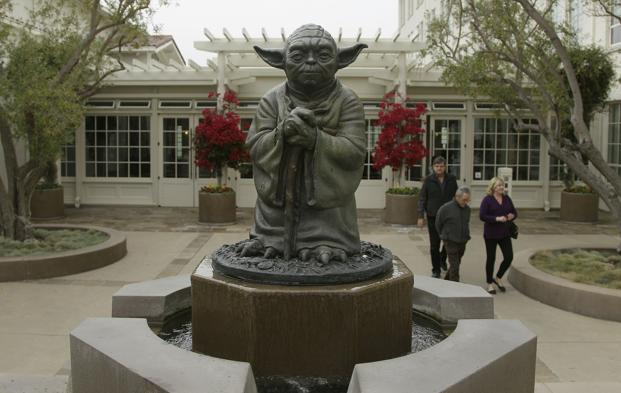 A Yoda fountain outside the Lucasfilm headquarters. The San Francisco company was founded in 1971 by Lucas. AP