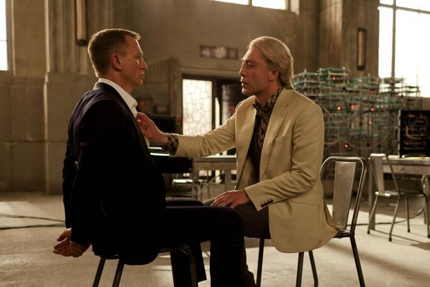 """This film image released by Sony Pictures shows Daniel Craig, left, and Javier Bardem in a scene from the film """"Skyfall."""" Bardem portrays, Raoul Silva, one of the finest arch-enemies in the 50-year history of Bond films. Francois Duhamel/AP/Sony Pictures (This film image released by Sony Pictures shows Daniel Craig, left, and Javier Bardem in a scene from the film """"Skyfall."""" Bardem portrays, Raoul Silva, one of the finest arch-enemies in the 50-year history of Bond films. Francois Duhamel/AP/Sony Pictures)"""