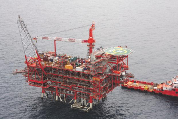 An oil platform at Reliance Industries' Krishna Godavari basin block.