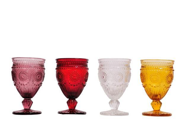 Pure Home and Living, DLF Place, Saket, New Delhi; Infiniti 2 Mall, Malad (West), Mumbai, 23 Indraprastha Equinox, Koramangala, Bangalore: Britty wine glasses in amber, purple, red and clear, Rs195 each.