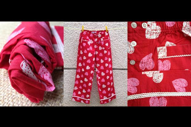 Pajama project by Rashmi Watwani: Cotton pyjamas in twill checks, hearts and floral prints, Rs500.