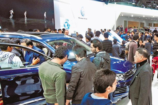 A file photo of visitors at the Delhi Auto Expo at Pragati Maidan in New Delhi. Photo: Ramesh Pathania/Mint