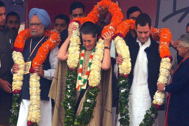 Prime Minister Manmohan Singh, Congress president Sonia Gandhi and Congress general secretary Rahul Gandhi at a rally at Ramlila Maidan in New Delhi on Sunday. Photo: Ramesh Pathania/Mint (Ramesh Pathania/Mint)