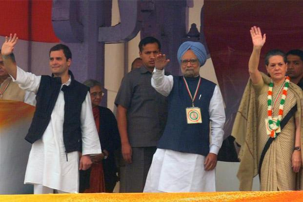 "(From left) Congress party general secretary Rahul Gandhi, Prime Minister Manmohan Singh and United Progressive Alliance chairperson Sonia Gandhi during a Congress rally at Ramlila Grounds, New Delhi. Rahul Gandhi has been talking about changing the ""system"" for eight years now. Photo: Ramesh Pathania/Mint"