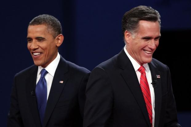 A file photo of Barack Obama (left) and Mitt Romney in Colorado. Photo: AFP