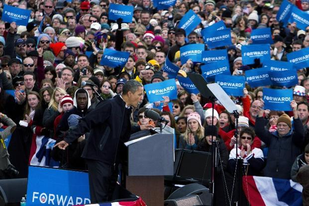 Obama speaks during a campaign rally on 5 November, 2012 in Madison, Wisconsin. AFP
