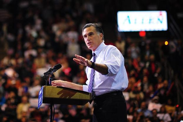Romney holds a rally at George Mason University in Fairfax, Virginia on 5 November. AFP