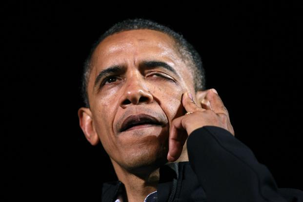 President Obama wipes a tear from his face during remarks at his final presidential campaign rally in Des Moines, Iowa on Tuesday. Photo: Reuters