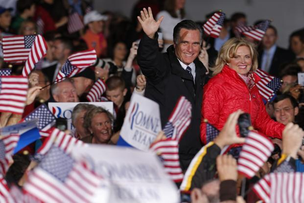 Mitt Romney and his wife Ann at a campaign rally in Columbus, Ohio. Reuters