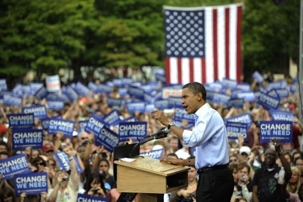 13 September 2008: US Democratic presidential candidate Illinois Senator Barack Obama speaks during a rally at Veterans Memorial Park in Manchester, New Hampshire. AFP