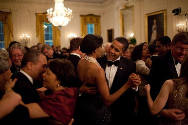 22 February 2009: The President dances with his wife during the first formal function at the White House in the administration: the Governors Ball. Official White House Photo.