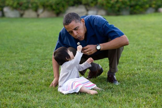 25 August 2009: On vacation in Martha's Vineyard, the President shared a moment with his young niece, Savita. Official White House Photo.