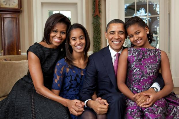 11 December 2011: Obama with his family. Official White House Photo by Pete Souza