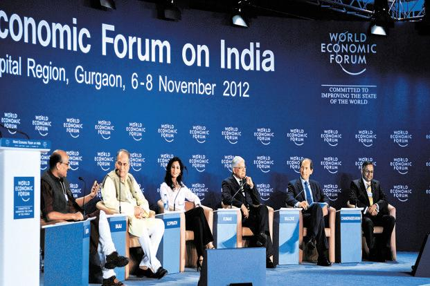 (Left to right) Shekhar Gupta, Rahul Bajaj, Gita Gopinath. Ashwani Kumar, Paul Bulcke and N. Chandrasekaran at the World Economic Forum in Gurgaon. Photo: Ramesh Pathania/Mint