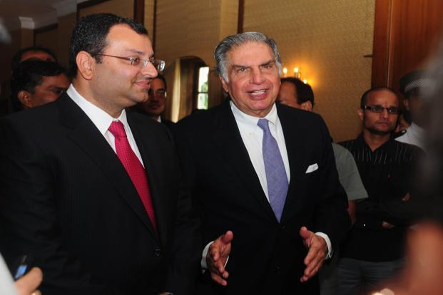 An August photo of (left) current deputy chairman of Tata Sons Cyrus P. Mistry with chairman of Tata Sons Ratan N. Tata at the Tata Global Beverages annual general meeting in Kolkata. Photo: Indranil Bhoumik/Mint