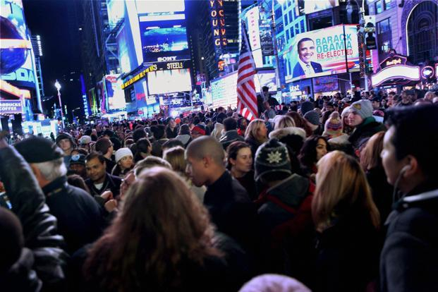 Celebrations at the Times Square after Barack Obama was declared winner in the US presidential elections in New York on Wednesday. Photo: PTI