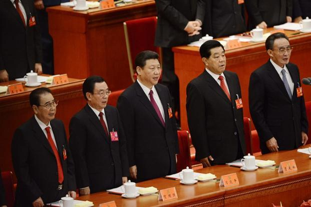Vice-president Xi Jinping (centre) at the opening of 18th Communist Party Congress at the Great Hall of the People in Beijing on 8 November. Photo: AFP
