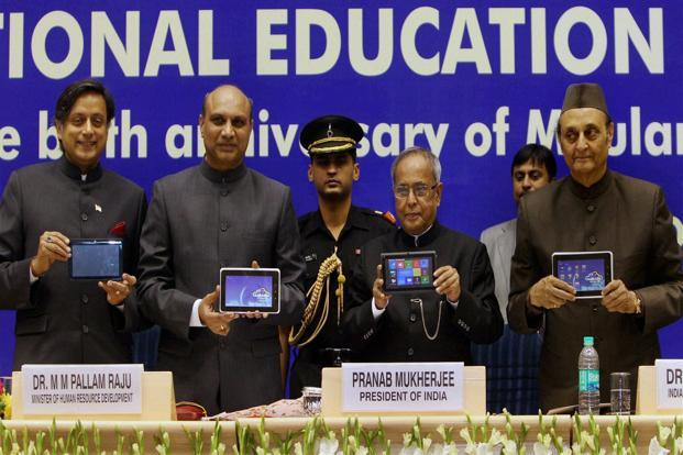 President Pranab Mukherjee at the launch of Aakash-2 tablet in New Delhi on Sunday. Photo: PTI