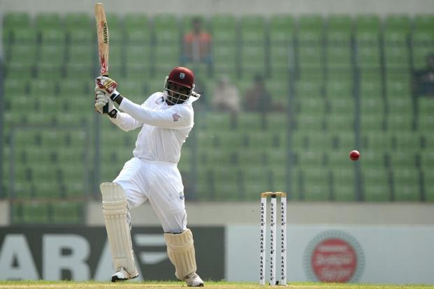 West Indies cricketer Chris Gayle bats on the first day of the first Test match between Bangladesh and the West Indies at the Sher-e-Bangla National Cricket Stadium in Dhaka. Photo: Munir uz Zaman/AFP