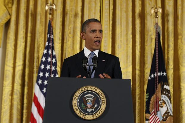 Barack Obama addresses a news conference at the White House in Washington on Wednesday. Photo: Reuters