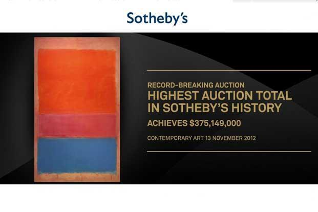 A screen-shot of Sotheby's website announcing the auction of the Mark Rothko's painting.